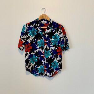 Vintage Hawaiian Floral Print Aloha Shirt